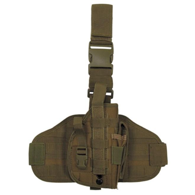 Pouzdro na zbraň - stehenní MOLLE okrové