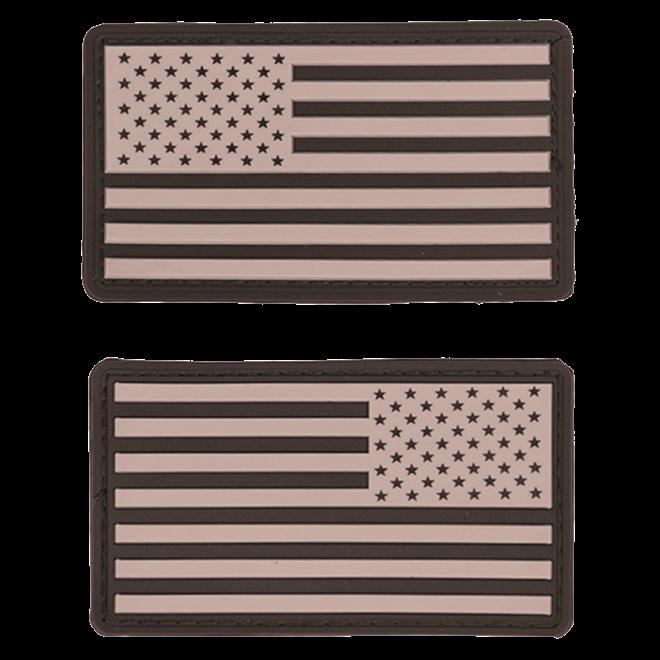 Nášivka gumová 3D: Vlajka USA [sada] šedá   černá