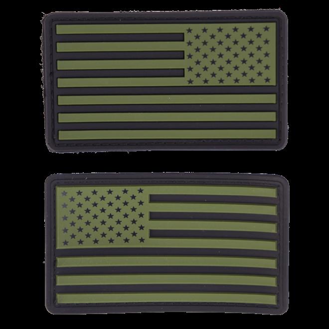 Nášivka gumová 3D: Vlajka USA [sada] olivová   černá