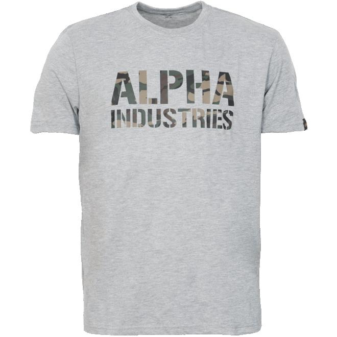 Alpha Industries Tričko  Camo Print T šedá melír. | woodland 3XL