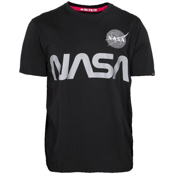 Alpha Industries Tričko  NASA Reflective T černé XS